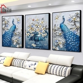 壁畫孔雀裝飾畫歐式大氣客廳掛畫沙發背景牆壁畫玄關牆面三聯牆畫鳳凰【全館免運八五折】