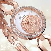 手錶女 牌手鏈女表防水鑽手錶女表韓版時尚鋼帶花形女士手錶 限時8折
