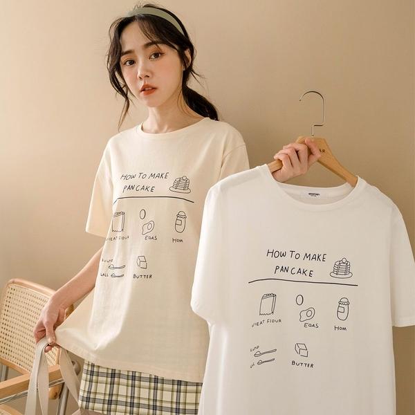 現貨-MIUSTAR PANCAKE鬆餅食譜膠印棉質上衣(共2色)【NJ0750】