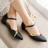 平底包鞋.MIT氣質尖頭金屬簍空平底包鞋.白鳥麗子