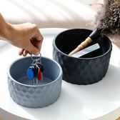 北歐風水泥置物盤圓柱幾何藍黑色收納多功能鑰匙托盤大號花盆花插