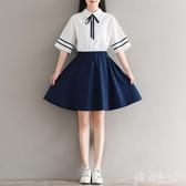 少女新款水手服 文藝海軍風日系連衣裙 畢業班服校服裙套裝 CJ5058『美鞋公社』