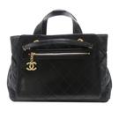 CHANEL 香奈兒 黑色牛皮拼接丹寧布手提肩背包 Urban Mix Shopping Bag 【BRAND OFF】