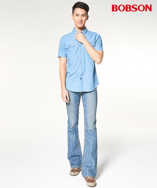 【BOBSON】男款短袖牛仔印圖襯衫(27001-58)