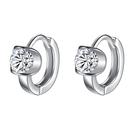 925純銀 花托單鑽天然白水晶 耳圈扣耳環-銀 防抗過敏