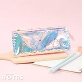 日貨角落生物三角雷射透明筆袋v2- Norns 角落小夥伴正版 恐龍貓咪 化妝包鉛筆盒