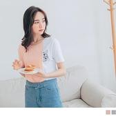 《AB12321-》高含棉雙色拼接貓咪刺繡短袖T恤/上衣 OB嚴選
