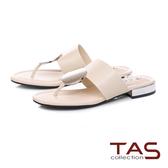 TAS 圓形飾扣寬帶夾腳拖鞋-優雅白