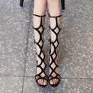 高跟涼鞋女粗跟2021新款夏季網紅羅馬鞋鏤空網靴中跟高筒長筒涼靴