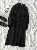 長袖洋裝 設計感純色連身裙早秋2021年新款女裝時尚氣質顯瘦收腰長袖中長裙  曼慕