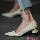 粗跟鞋 2021春法式復古白色仙女鞋溫柔單鞋女通勤中跟粗跟淺口百搭尖頭鞋 小天使 618
