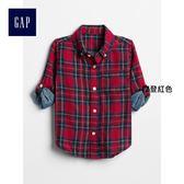 Gap男嬰幼童 基本款雙層梭織格紋長袖襯衫 358593-摩登紅色