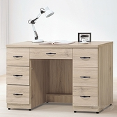 【水晶晶家具/傢俱首選】CX1451-1 寶雅橡木121公分七抽連環鎖辦公桌