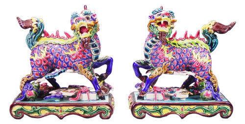 鹿港窯-居家開運商品-台灣國寶交趾陶~四寶麒麟