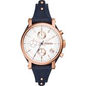FOSSIL 雅典女仕時尚計時腕錶/手錶-玫瑰金框x藍/38mm ES3838