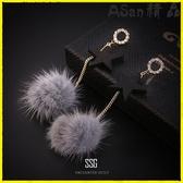 【YPRA】耳環 耳釘長款耳墜女純銀氣質百搭毛球耳環