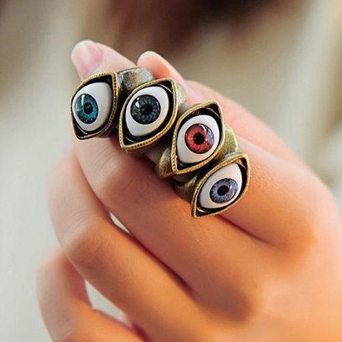 ►朋克風 藍色眼睛戒指 戒子指環【B2020】