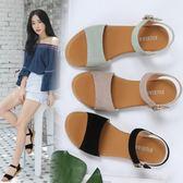 平底涼鞋夏季女新款坡跟厚底韓版學生真皮女鞋 Ic3【野之旅】