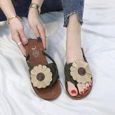 夾腳拖鞋花朵夾腳平底外穿防滑軟底沙灘拖鞋【不二雜貨】