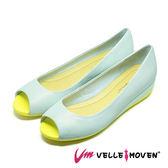 復古甜心 撞色坡跟魚跟鞋 VelleMoven 簡約素色 防滑大底 _典雅藍