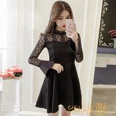 春裝新款韓版蕾絲拼接喇叭袖連身裙女收腰顯瘦中長款打底A字裙子