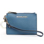 MICHAEL KORS Mercer金LOGO荔枝紋皮革證件零錢手拿包(丹寧藍)618099-16