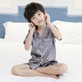 兒童睡衣 夏裝男童家居服薄款空調服冰絲套裝綿綢睡衣中大童男孩夏【【八折搶購】】
