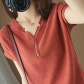 2021新款棉麻針織短袖女士v領純棉T恤大碼韓版打底衫夏季半袖 快速出貨