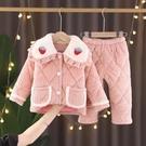 兒童睡衣 法蘭絨夾棉睡衣春季女童珊瑚絨加厚保暖寶寶女孩家居服套裝【快速出貨八折下殺】