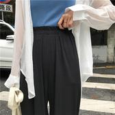 寬褲 長褲 素色 寬管褲 鬆緊腰 透 彈性 休閒 九分褲【MYM788】 BOBI