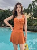 泳衣女泡溫泉保守顯瘦遮肚性感韓國新款連體裙式 瑪奇哈朵