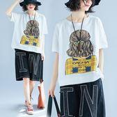 大尺碼 MM200斤加肥加大尺碼女裝文藝范印花寬鬆顯瘦上衣圓領套頭短袖T恤