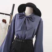 雪紡襯衫 蝴蝶結加絨襯衫長袖2019春裝新款女裝燈籠袖上衣泡泡袖雪紡白襯衣 曼慕衣櫃