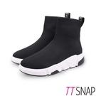 短靴-TTSNAP 素面針織簡約運動厚底襪靴 黑
