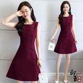 無袖洋裝大尺碼實拍韓國無袖氣質收腰顯瘦連身裙時尚打底裙子 父親節降價