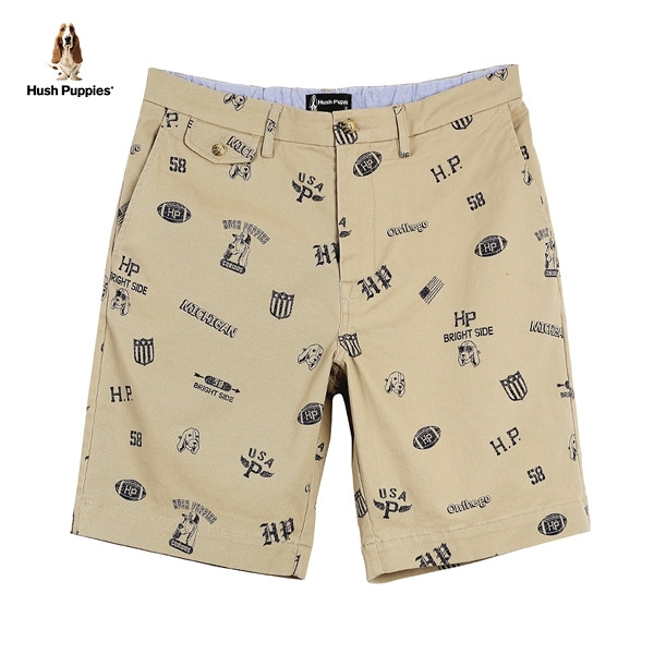 Hush Puppies 短褲 男裝滿版印花休閒短褲