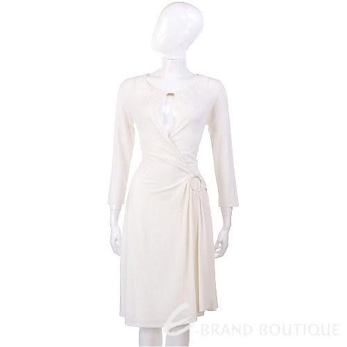 PAOLA FRANI 米白色鏤空深V腰環飾洋裝 0930184-03