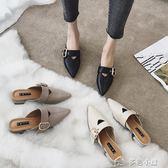 包頭半拖鞋女夏時尚外穿新款涼懶人單厚底尖頭粗跟高跟穆勒鞋多色小屋