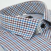【金‧安德森】紅藍白格紋窄版長袖襯衫