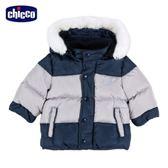 chicco-倫敦熊系列-拼接千鳥紋羽絨活動帽外套-青