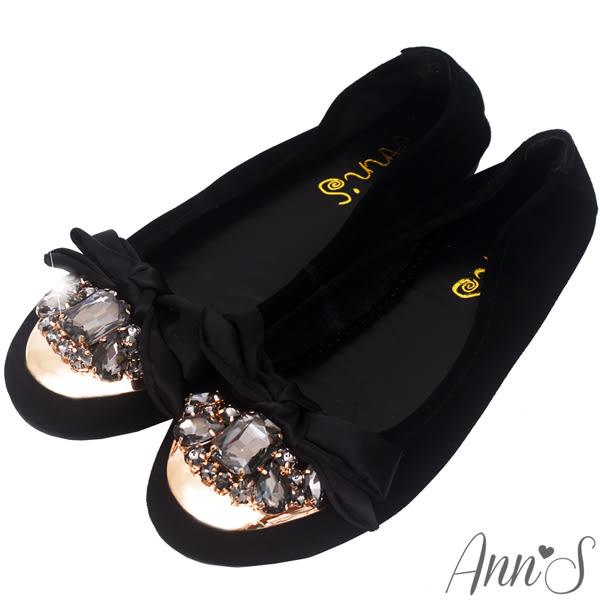 Ann'S華麗寶石緞面蝴蝶結全羊皮舒適平底娃娃鞋-黑