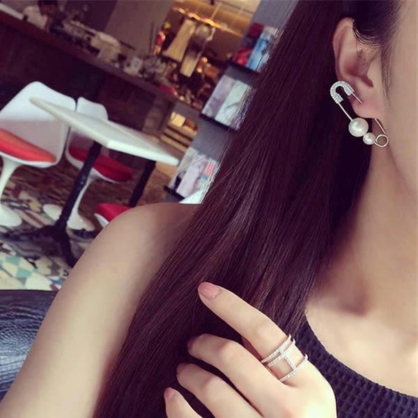 耳環 單支款 獨特新款大別針造型珍珠鑲鑽耳環【1DDE0186】