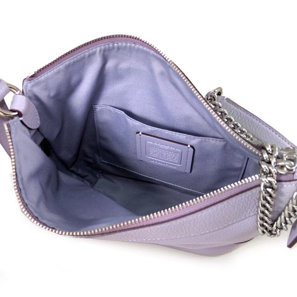 COACH 馬車LOGO皮革鏈帶流浪肩背 兩用包 水桶包 斜背包(紫色)-76668