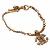 CHANEL 香奈兒 金色LOGO鑲珍珠手鍊 Chain Bracelet 03A【二手名牌BRAND OFF】