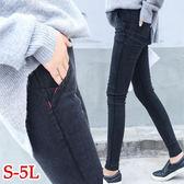 BOBO小中大尺碼【1024】中腰鬆緊紅線顯瘦窄管褲-S-5L-共2色
