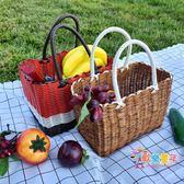 野餐籃 手工塑料編織筐時尚購物籃野餐水果收納框小寵物籃洗澡手提菜籃子T 2色