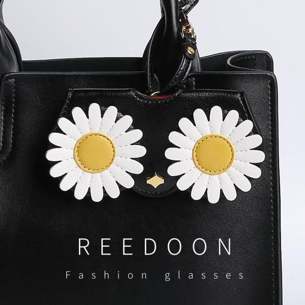 ins可愛少女太陽眼鏡盒便攜抗壓皮質保護夾護鏡包掛飾收納墨鏡袋