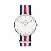 【Daniel Wellington】CLASSIC瑞典時尚品牌經典簡約尼龍腕錶-藍白紅x銀-40mm/DW00100016/原廠公司貨兩年保固