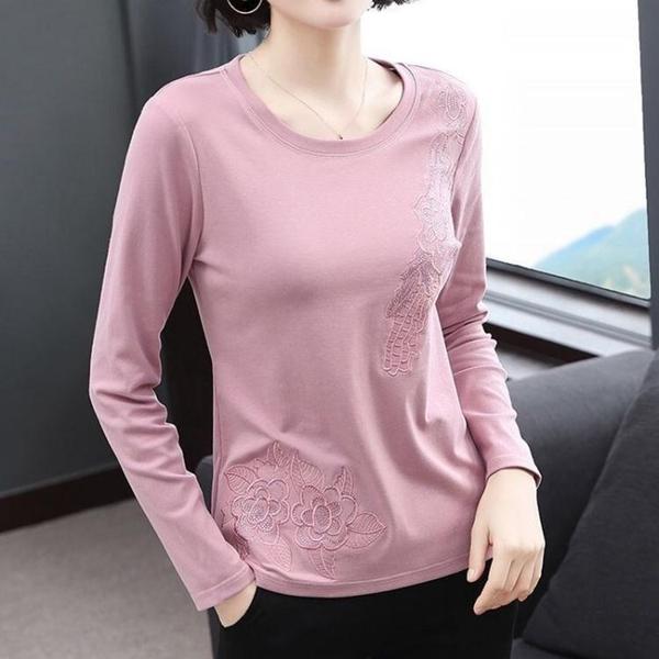 純棉長袖t恤女 秋裝新款寬鬆打底衫中老年媽媽上衣女衛生衣外穿