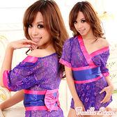蕾絲綴小花和服角色扮演cosplay情趣睡衣‧愛戀東京 性感縷空紫色款 - 香草甜心